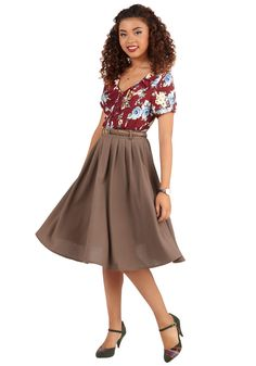 Breathtaking Tiger Lilies Skirt in Cocoa