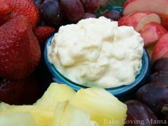 Pineapple Lush Fruit Dip Recipe -Ingredients ◦1 pkg. (3.4 oz.) JELL-O Vanilla Flavor Instant Pudding ◦1 can (20 oz.) crushed pineapple in juice, undrained ◦1 cup thawed COOL WHIP Whipped Topping .1.Whisk dry pudding mix and pineapple in medium bowl for 2 min.  2.Fold in whipped topping.  3.Serve immediately or chill if desired.