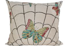 Pillow made from a vintage Mexican skirt with sequined butterflies in a spider web. Plain cotton back and feather and down insert.