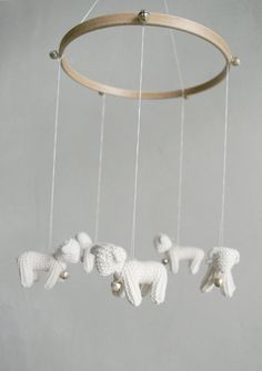Baby  mobile - nursery mobile - baby crib mobile - Lambs mobile - Sheeps mobile -FOR LITTLE SHEPHERD- baby gift - made to order