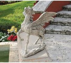 The hoof of Pegasus is said to have created the spring of Hippodrome, the source of inspiration in Greek history. Classically trained artist Pennington has sculpted this muse almost two feet high and cast him in quality designer resin as a centerpiece for home or garden. Our Toscano-exclusive, high-spirited winged horse of Greek mythology is an investment in classic art that is pure poetry in motion!