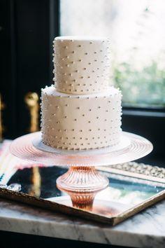 Metallic beaded wedding cake.