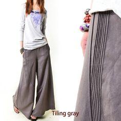 Moon forgot - linen skirt pants (K1206b)