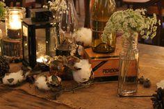 Southern Vintage Wedding Rentals, rustic tablescape