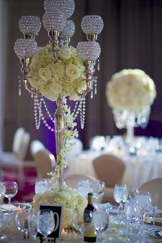 Elegant Centerpieces|Glam Westmount Country Club Wedding|Photographer:  grasmere hills productions