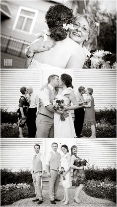 I LOVE the photo of bride and groom kissing with their parents kissing in the background!!!