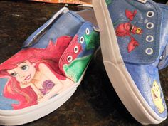 Disney Little Mermaid custom painted Vans shoes by whimsyrogue, $100.00