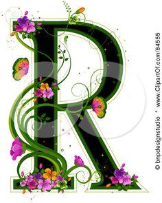vector art, flower alphabet, letter r tattoo, alphabet stock