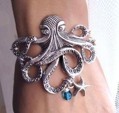 Silver Octopus with Starfish charm Bracelet