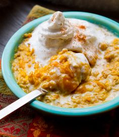 Pumpkin Pie Oatmeal. It looks decadent, but is totally vegan. Must try, even without the whipped coconut cream on top.
