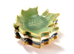ceramic maple leaf dish ring holder spoon rest by Ravenhillpottery, $16.00 #leaves #autumn leaves #maple leaves #pear green #tender shoots #pottery #clay #handmade #Melinda Marie Alexander #ravenhillpottery.etsy.com #etsy