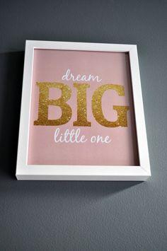 """Dream Big, Little One"" - perfect nursery wall decor! #glitter #nursery #walldecor"