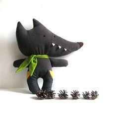 Wolf stuffed toy wolf soft toy rag doll wolf softie by ZazoMini, $35.00 Wolf Plush, Wolf Doudou, Doudou Loup, Wolf Stuffed, Wolves, Wolf Toy