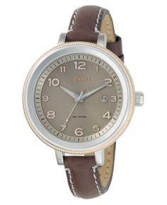 Fossil Watch, Women's Bridgette Brown Leather Strap