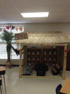Jungle theme classroom reading hut
