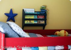 kids wall book bin