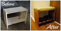Love this! Turns a boring little wooden shelve/stand into a seat and shoe rack!