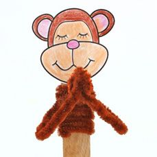 prayer hand for sunday school | ... Sunday School Monkey Stick Puppet Praying Bible Craft for Sunday