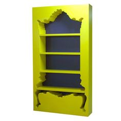 my bookcase needs a stylish upgrade.  #baroque #glam #ornate #shelving #books #library #yellow