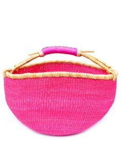 Leather Trimmed Bolga Basket