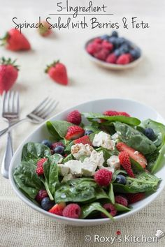 5-Ingredient Spinach Salad with Berries & Feta Cheese | Roxy's Kitchen - This salad has it all: fiber, protein, iron, calcium, so many vitamins and it's packed with antioxidants for a youthful skin. Perfect summer salad, ready in just 10 mins!