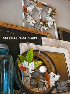 Chipping with Charm: Fall Mantel 2013...www.chippingwithcharm.blogspot.com