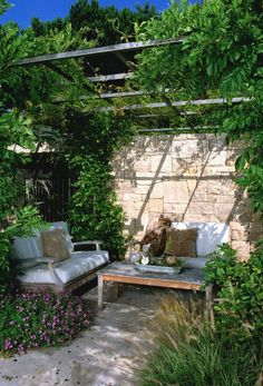 architect, patio design, secret gardens, pergolas, small backyards, stone walls, outdoor space, landscape designs, trelli