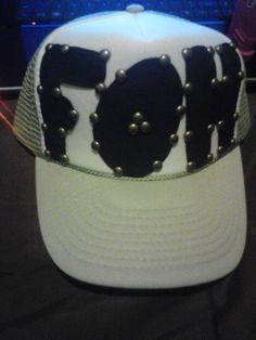 $20 F.O.H trucker hat leather lettering with studs...