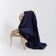 FRENCH FAUX FUR Navy Throw reversing to Navy by CloudHunterCo