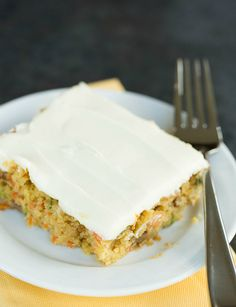 Carrot-Zucchini Bars with Cream Cheese Icing. carrot cakes, sweet, eye baker, food, carrots, chees ice, bakers, cream cheese frosting, carrotzucchini bar