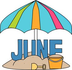 January Month Clip Art Month of june at the beach