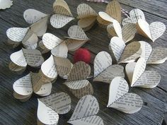 Hearts made from book pages!  Get books for under $1 at thrift stores!