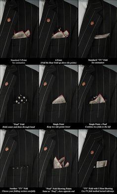 Pocket Square Folds #Infographic