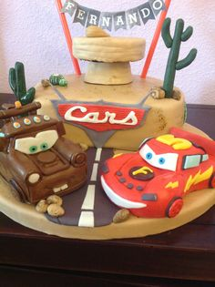Lightning McQueen and Mater Birthday Cake (Cars).