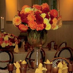 Fall wedding colors and centerpieces