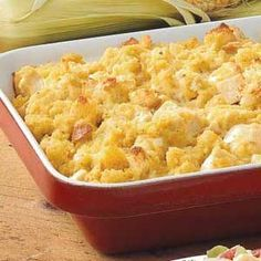 Corn Bread Chicken Bake - a hearty main-dish casserole that moist and delicious