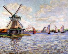Armand Guillaumin Windmills in Holland - French Impressionist Oil Painting