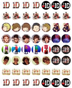 "1D - Bottle cap images, high resolution formatted for printing on 8.5"" x 11"" page"