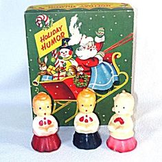 3 Gurley Choir Singer Candles in 1950s Christmas Card Box