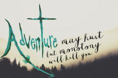 Adventure may hurt but monotony will kill you || travel quote #mountains #trees