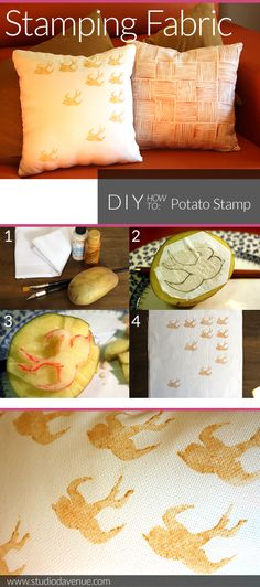 Hand-print your own fabric for throw pillows: DIY Potato Stamp from Studio Davenue