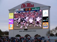 Ole Miss - University of Mississippi Rebels football - scoreboard at Jerry Hollingsworth Field inside Vaught Hemingway Stadium