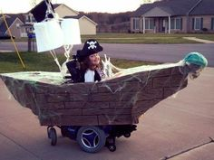 Kids Halloween Costumes: Pirate and her ship