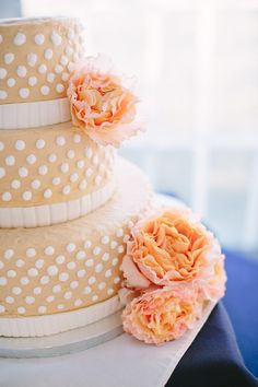 Peach polka dot wedding cake | Photography: Julia Wade