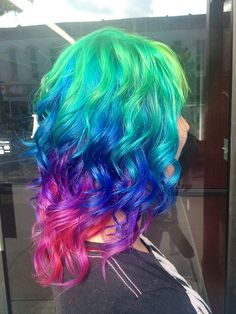 The back of Amber's rainbow hair