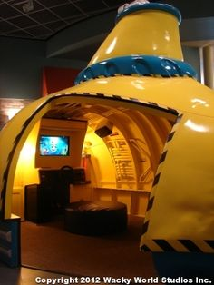 Awesome interactive submarine. Part of a themed environment for Fairhaven Church.