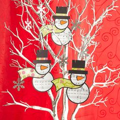 Sheet Music Snowman Ornament