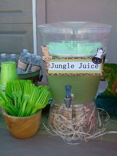Jungle zoo animal party jungle juice punch, lime sherbert & ginger ale