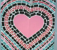 Sixth grade art project using construction paper to make Valentine Mosaics