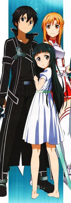 Sword Art Online, Kirito, Yui  Asuna, official art